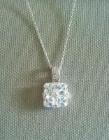 Alta Vintage CZ Crystal Pendant .925 Silver Necklace
