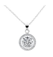 "18K White Gold Plated CZ Pendant Necklace - ""Blake"""