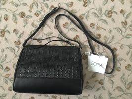 Spiral Allen Perforated Leather Handbag Black