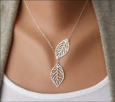 Sterling Silver Plated Leaves Necklace