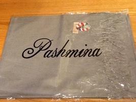 Gray Pashmina Scarf / Wrap w/ fringe