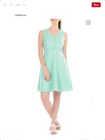 Eshakti Mint Slub Weave Dress w. White Piping