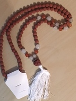 White Jade and Golden Agate Rudraksha Mala Beads