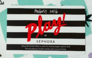PLAY! PASS from August 2016 Sephora Play