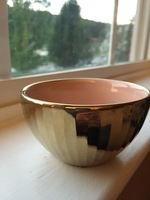 Gold Decorative Bowl with Pink Interior