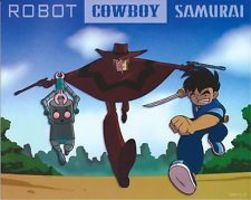 Robot Cowboy Samurai art print litho by sam ellis
