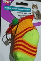 Cat Catnip Toy - Neon Sock with Bell