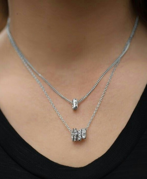 Silver Rhinestone Charm Necklace
