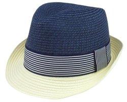 Blue Stripe Straw Derby Hat