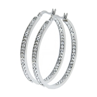 "Isabella Diamond Simulated Hoop Earrings - 1.62"""