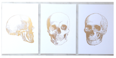Gold Foil Embossed Skull Art Prints
