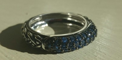Alta Vintage textured ring silver/sapphire size 7