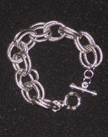 "Silver-Tone Double Link Silver-Tone Bracelet - 7"""