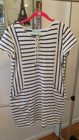 She & Sky Navy/White Striped Dress - Size Medium