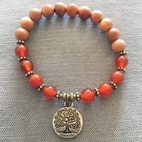 Yew Wood and Fire Agate 'Gratitude' Bracelet