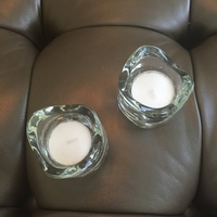 Pair of Glass Tealight Holders and Tea Lights