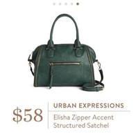 Urban Expressions Elisha Zipper Accent Structured Satchel in Dark Green