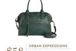 Urban Expressions Elisha Zipper Accent Structured Satchel in Dark Green