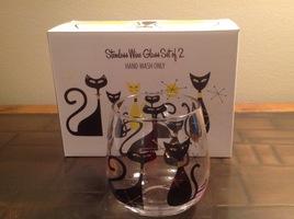 Mod Cats Wine Glass Set