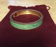Jade enamel and gold hinged bangle