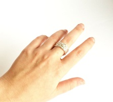 Moe+Co Adjustable Silver Braid Ring