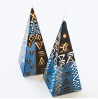 Hand Painted Pyramid Candle Set