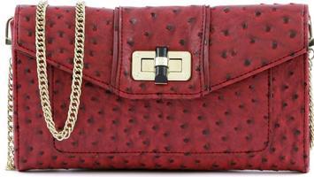 Danielle Nicole Red Ostritch Convertible Clutch/Shoulder Bag