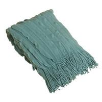 Saro Ruffle Throw Blanket in Sea Green