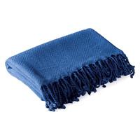 Diamond Weave Bamboo Fibre Throw - Slate Blue