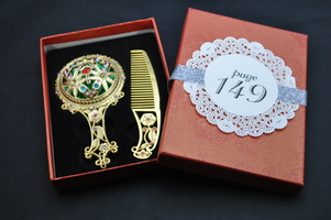 Faux Gold & Bejeweled Comb and Mirror Set