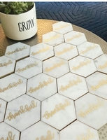 Gold edge marble coaster