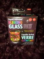 Liquid activated blinking glass