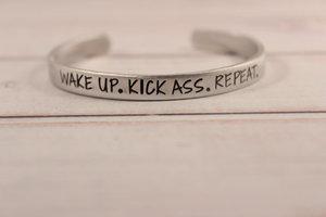 Wake Up Kick Ass Repeat bracelet