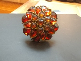 Orange Gem Flower Expandable Cocktail Ring
