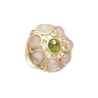 Rivka Friedman Ornate Cabochon Gem Stone Ring