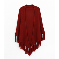 KW Fashions knit shall with tassels in burgundy