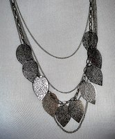 Layered Metal Leaf Necklace - Silver