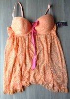 Icy Hot Lingerie Coral Lace Babydoll