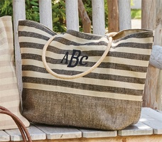 Park Design Jute Black Stripe Tote (No Monogram)