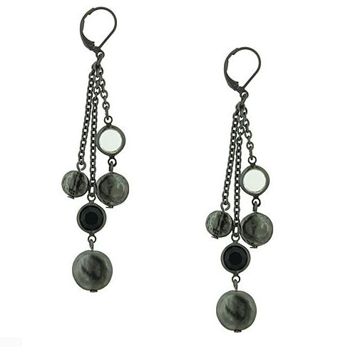 1928 Black Crystal Channel Bead Multi-Chain Drop Earrings