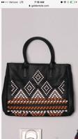 Large black golden tote Aztec bag