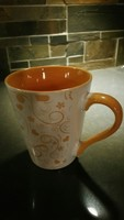 Orange flowered mug