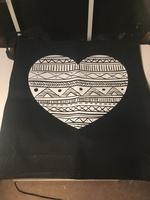 Aztec heart cotton canvas tote