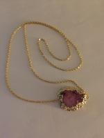 Adam Rabbit gold/Amethyst Quartz Druzy Necklace