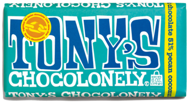 Tony's Chocolonely dark chocolate, pecan coconut - Huge bar