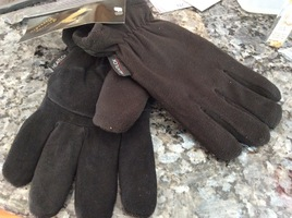 Heat lock men's small deer skin and polyester gloves