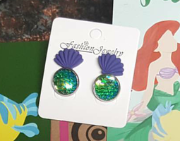Little Mermaid Scales and Shells Earrings Two Pair