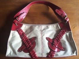 Red & tan braided purse