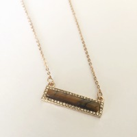 Cents of Style Stone Bar Necklace - gold and brown