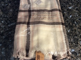 Pink, brown and ivory poncho